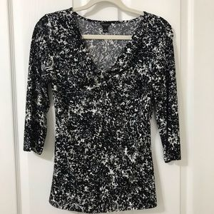 Ann Taylor 3/4 Sleeve Vee Neck Top Blouse Small